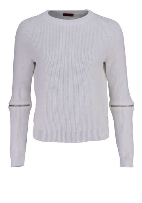 HUGO BOSS Langarm Pullover SAILEY Rundhals Strick Loose Fit ecru