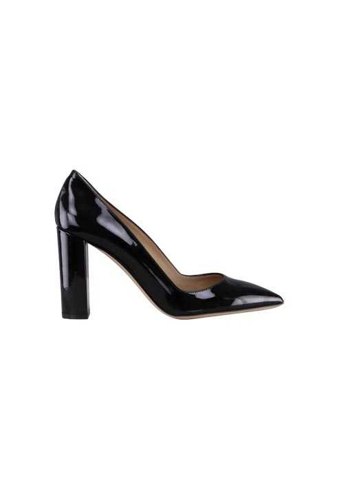 HUGO BOSS Pumps MAYFAIR Lack Leder Blockabsatz schwarz