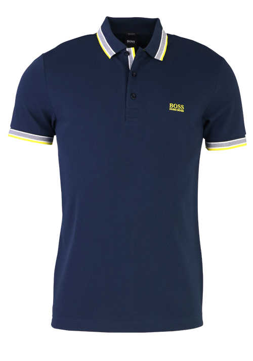 HUGO BOSS Regular Fit Polo-Shirt Polokragen geknöpft Pique Uni dunkelblau