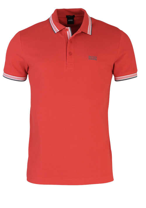 HUGO BOSS Regular Fit Polo-Shirt Polokragen geknöpft Pique Uni rot
