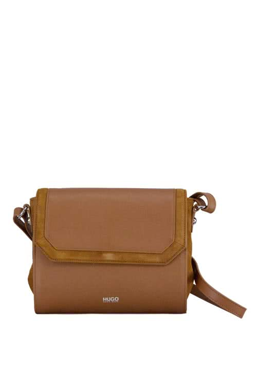 HUGO BOSS Tasche FAITH Schulterriemen Leder cognac