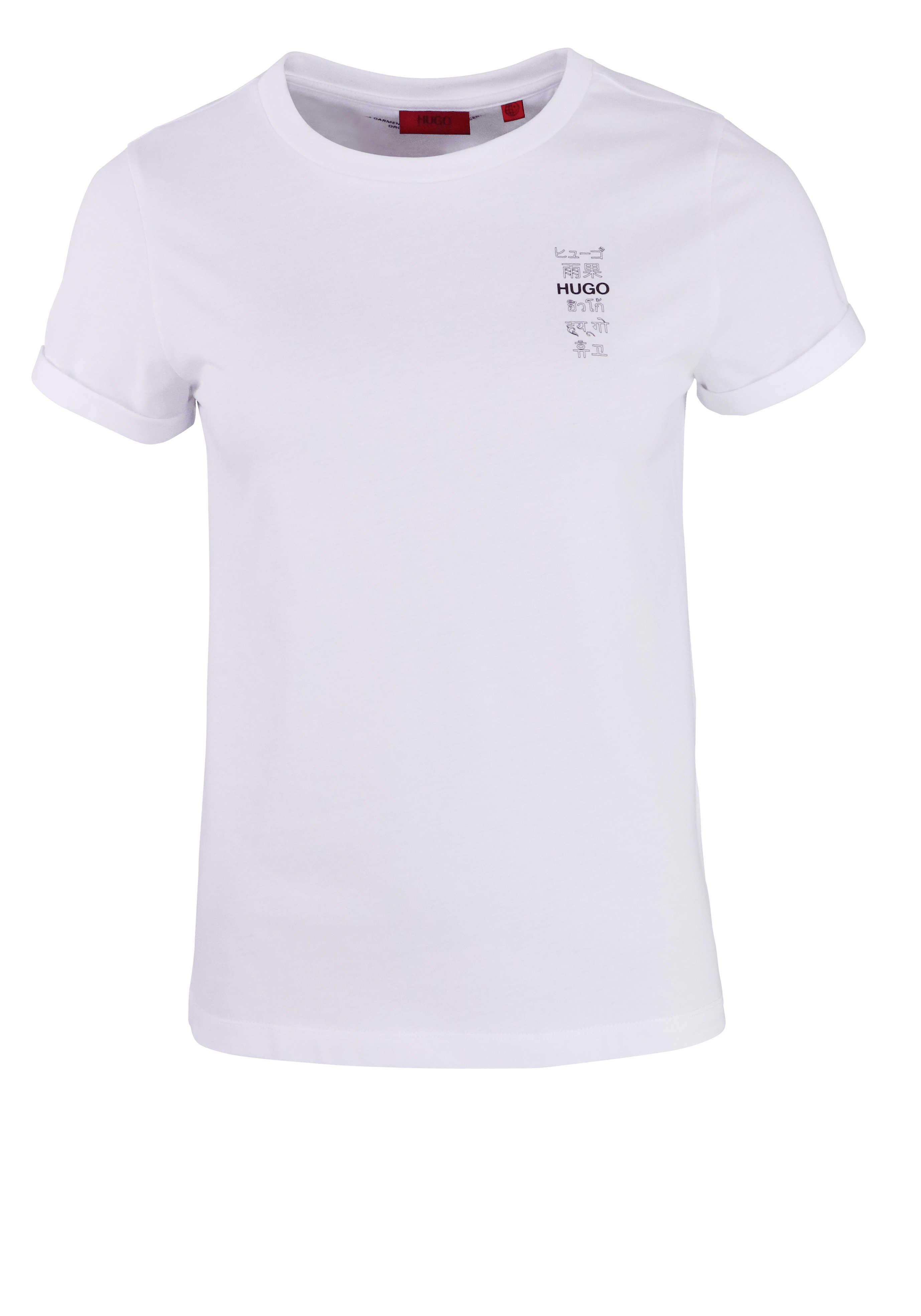 HUGO Kuzram T-Shirt THE SLIM TEE 5 Rundhals Logo Schrift-Print weiß