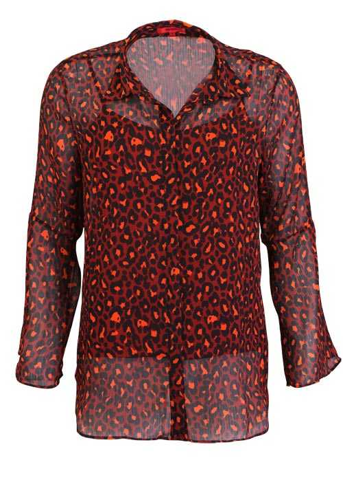 HUGO Langarm Bluse ELLENOR Hemdkragen Muster orange