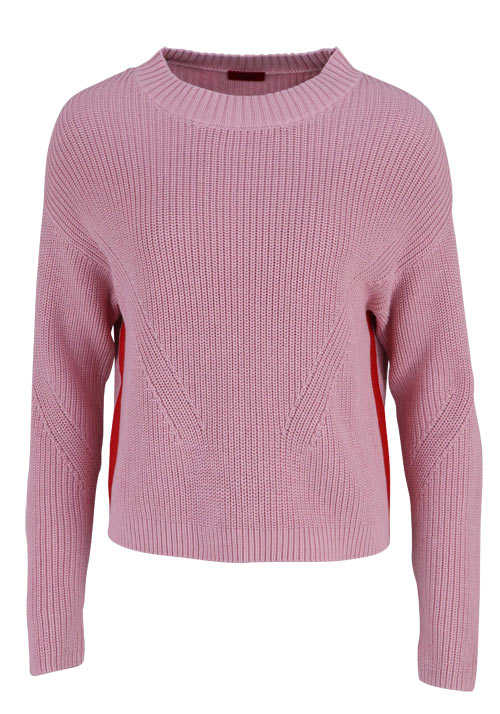 HUGO Langarm Pullover SIDINA Rundhals Strick Cropped altrosa