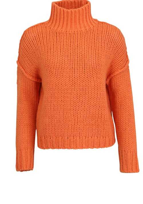 HUGO Langarm Rolli STELLY Rollkragen eng Strick Oversize orange
