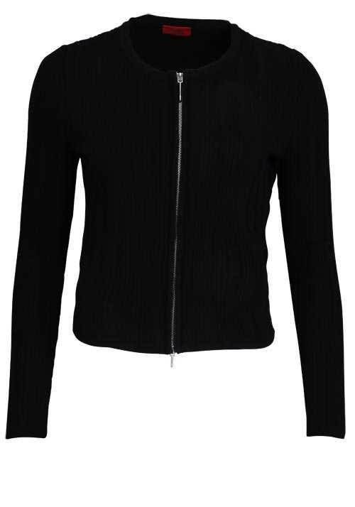 HUGO Langarm Strickjacke SIERRY Metallzipper Struktur schwarz