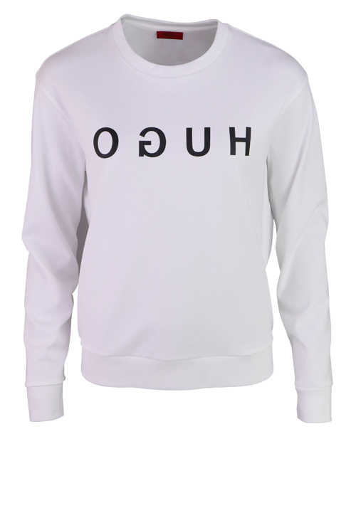HUGO Langarm Sweatshirt THE HUGO Rundhals Schrift-Print weiß