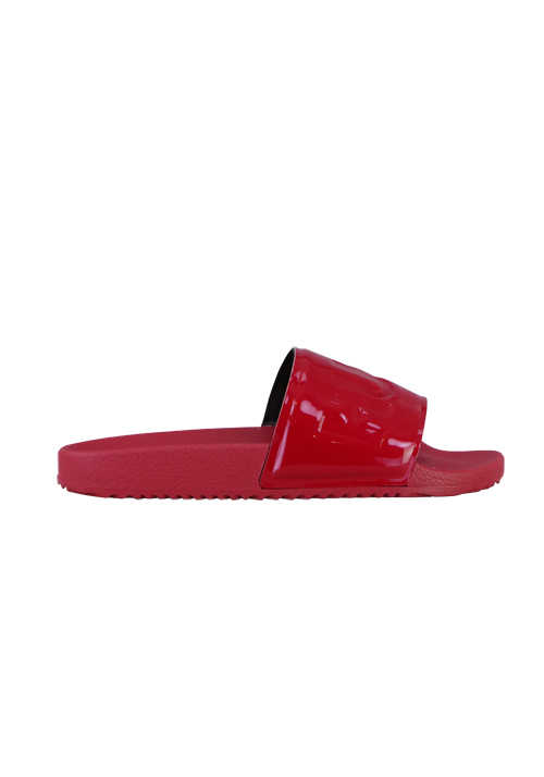HUGO Sandale TIME OUT SLIDE Logo Riemen mittelrot