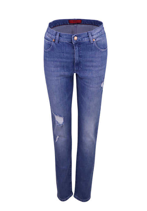 HUGO Straight Jeans GERENA Used Destroy 5 Pocket mittelblau