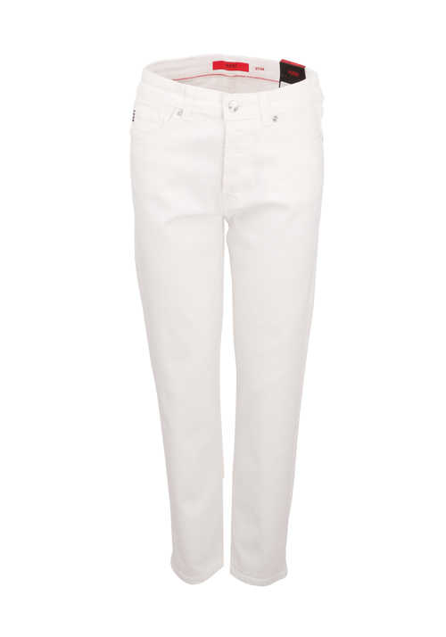 HUGO Straight Jeans GWINDY Knopfleiste 5-Pocket ecru