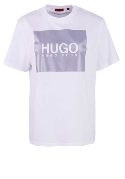 HUGO T-Shirt THE BOYFRIEND TEE Rundhals Logo-Print Stretch weiß