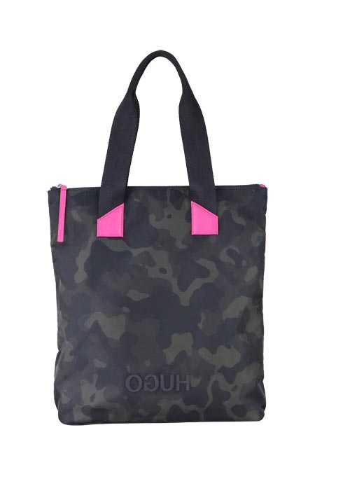 HUGO Tasche RECORD SHOPPER-C Camouflage Muster anthrazit/oliv