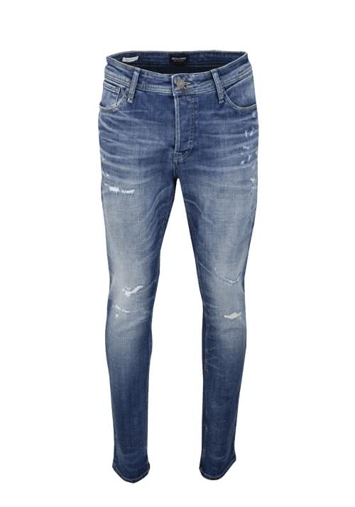JACK&JONES Slim Fit Jeans TIM Stretch destroy dunkelblau