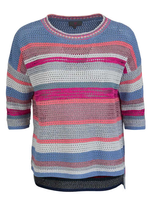 T-Shirts, Polos & Tops LIEBLINGSSTÜCK 3/4 Arm Pullover PATRICIA Rundhals Ringel Multicolor