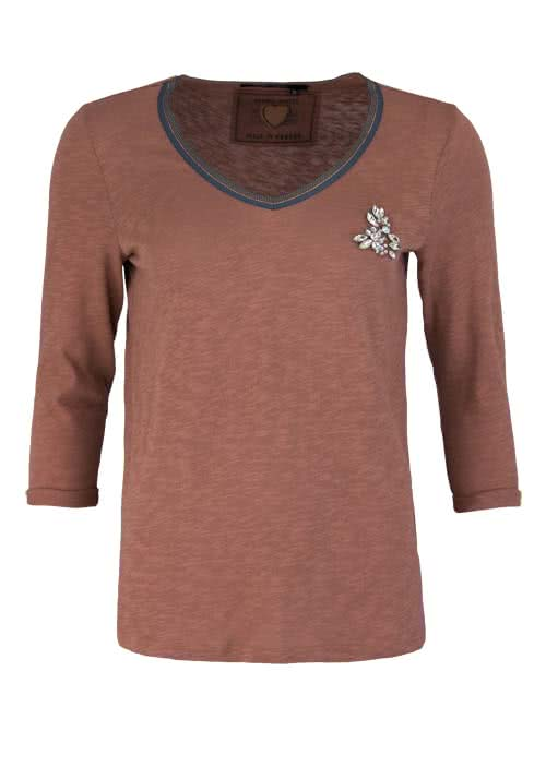 MARC AUREL 3/4 Arm Shirt V-Ausschnitt Strass-Applikation bronze