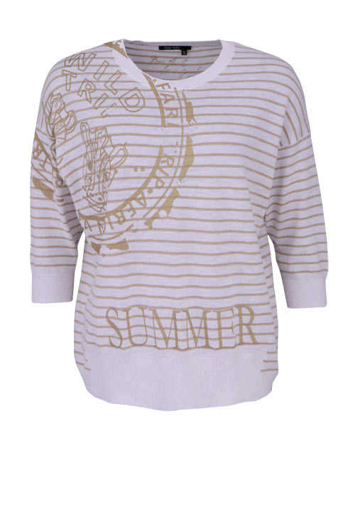 MARC AUREL 3/4 Arm Strickpullover Rundhals Statement Ringeln ecru/gold