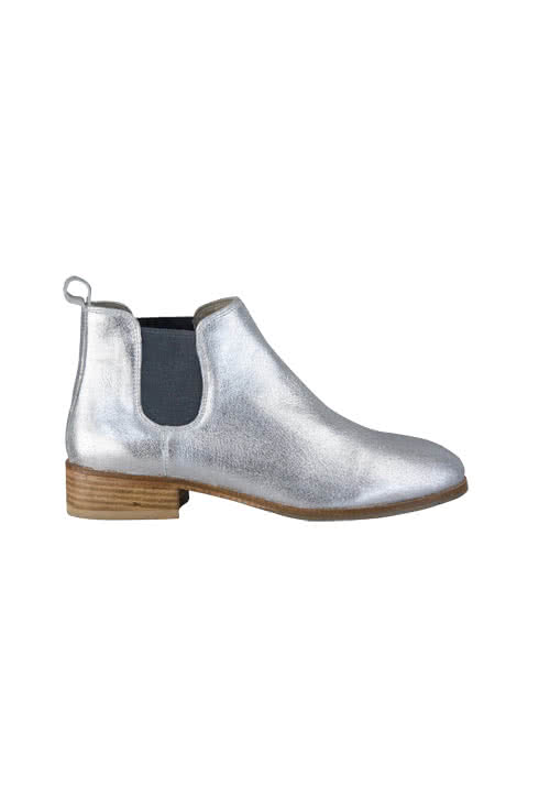 MARC AUREL Chelseaboot Stretcheinsatz Leder metallic silber