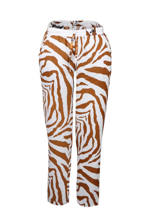 MARC AUREL Chino-Pants Gummibund Bindedetail Zebra Design cognac