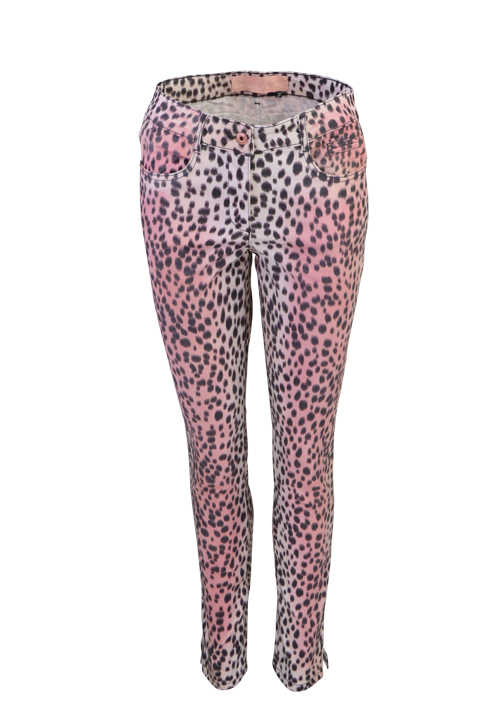 MARC AUREL Damen Jeans 5 Pocket Animal Print Muster rosa