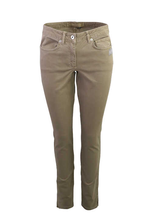 MARC AUREL Skinny Fit Hose Normal Waist Strassapplikation mittelbraun