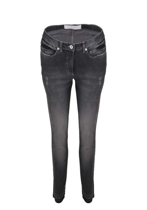MARC AUREL Skinny Fit Jeans Button-Zipp-Verschluss destroyed anthrazit