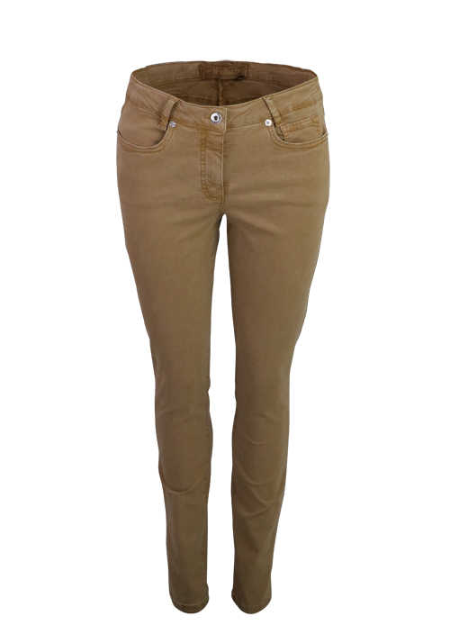 MARC AUREL Skinny Fit Jeans Normal Waist 5-Pocket Stretch hellbraun