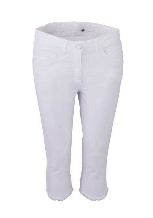 MARC AUREL Skinny Hose 3/4 Länge Stretch Fransen 5 Pocket weiß