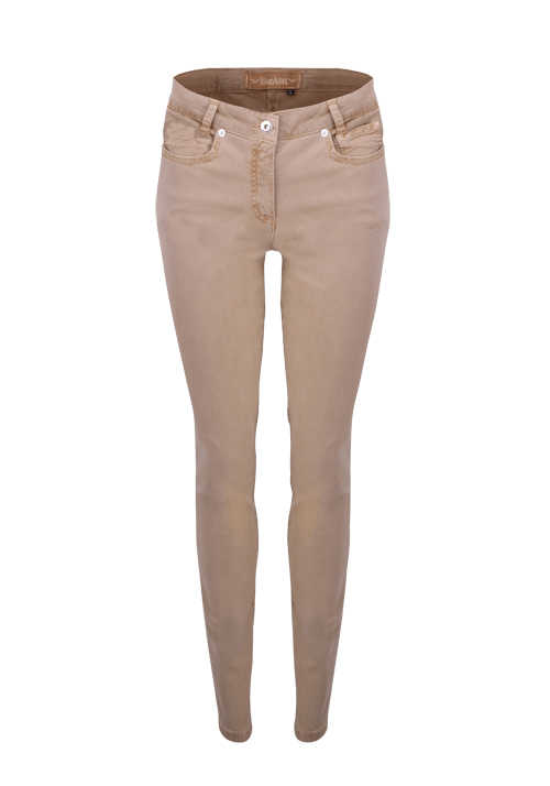 MARC AUREL Skinny Hose 5 Pocket Used braun/beige