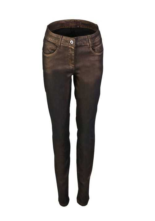 MARC AUREL Skinny Jeans Metallic Stretch 5 Pocket bronze
