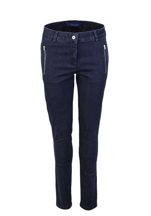 MARC AUREL Skinny Jeans Used Zipper Stretch nachtblau