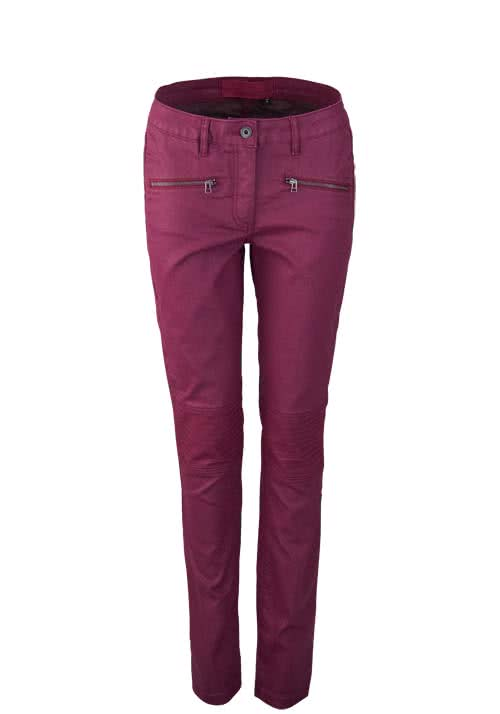 MARC AUREL Slim Fit Hose GRAPE Ziernähte Bikerstyle Beschichtet beere