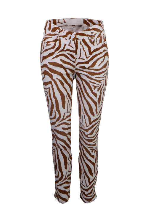 MARC AUREL Slim Fit Jeans 5 Pocket Zipper Zebra-Design zimt