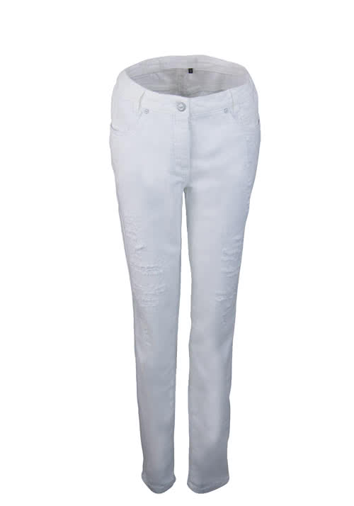 MARC AUREL Straight Jeans Destroy-Stellen Stretch weiß