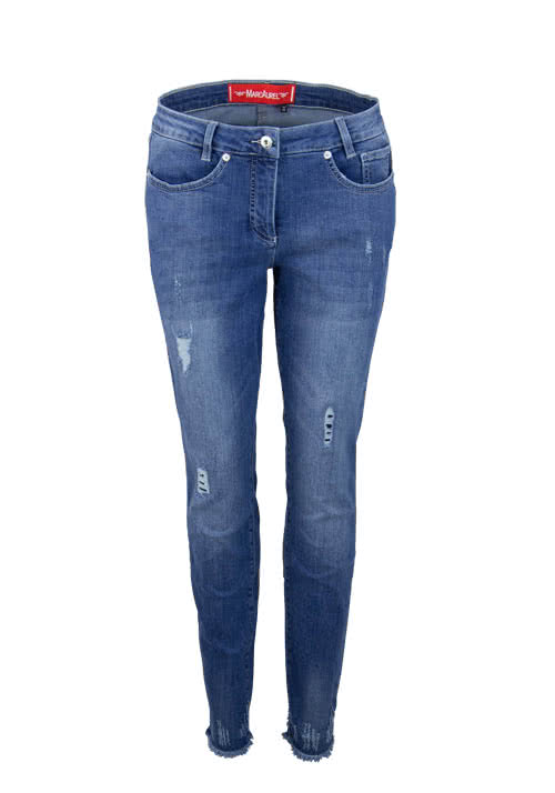 MARC AUREL Straight Jeans Used Destroy mittelblau