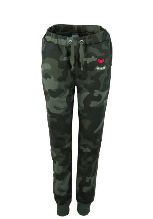 MARC AUREL Sweat-Hose Patches Camouflage Allover Druck oliv