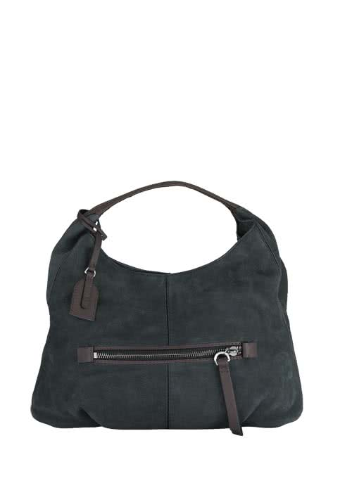 MARC O´POLO Hobo Bag Veloursleder Ziernähte anthrazit