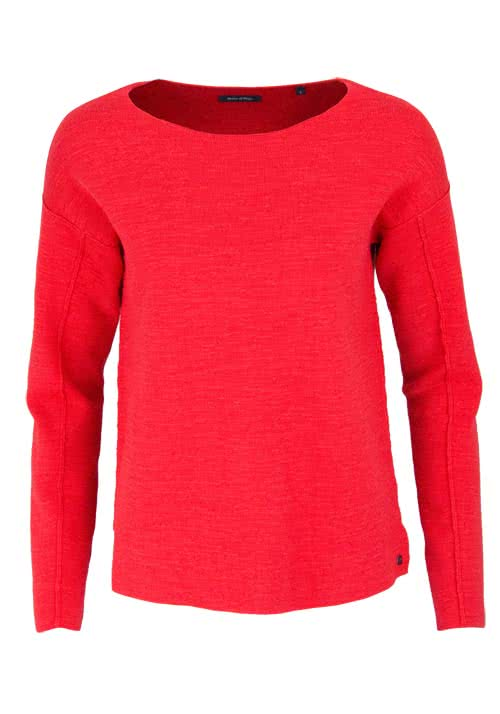 MARC O´POLO Langarm Pullover Rundhals Loose Fit rot