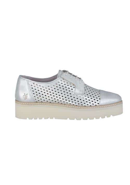 MARC O´POLO Sneaker Leder Plateausohle Lochsmusterung silber