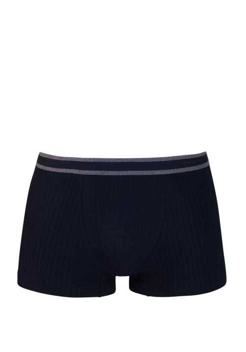 MEY Shorts gestreifter Webgummibund Cotton Stretch dunkelblau
