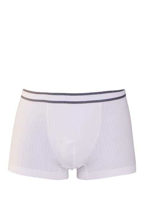 MEY Shorts gestreifter Webgummibund Cotton Stretch weiß