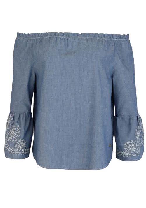 MOS MOSH 3/4 Arm Bluse Penelope Chambray Off Shoulder mittelblau