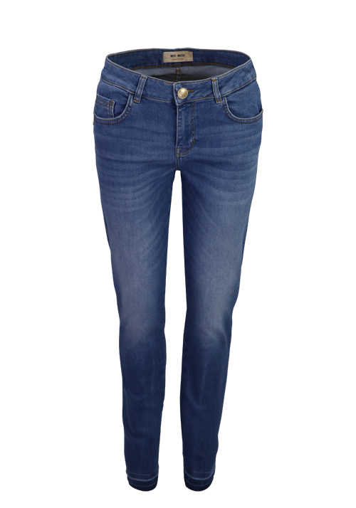 MOS MOSH Skinny Jeans SUMNER DECOR Used 5 Pocket mittelblau