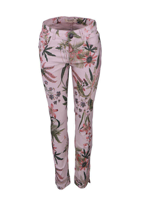 MOS MOSH Slim Hose SUMMER SHINE FLOWER Allover Druck rosa/grün