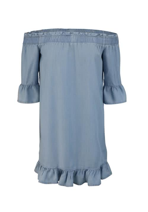 ONLY 3/4 Arm Kleid Off-Shoulder gesmokt Volant mittelblau