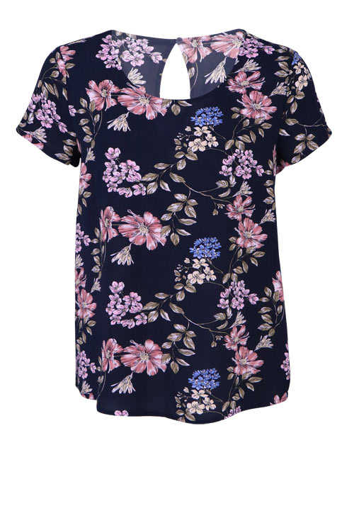 ONLY Kurzarm Blusenshirt Rundhals Loose Fit Floral Muster dunkelblau