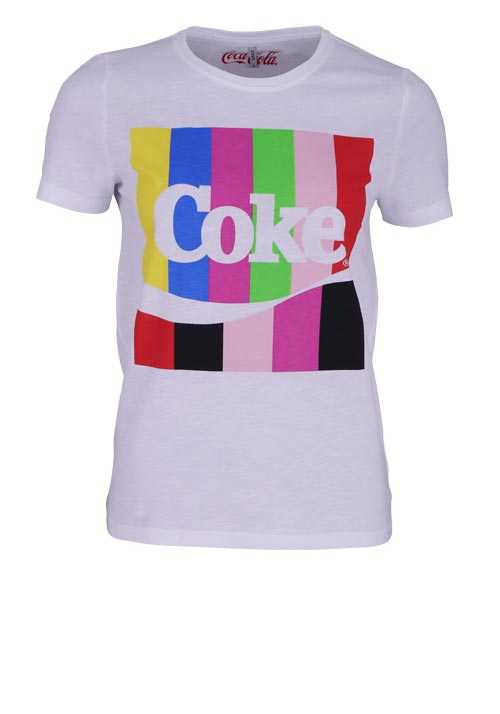 ONLY Kurzarm T-Shirt Rundhals Statement-Print Coke weiß