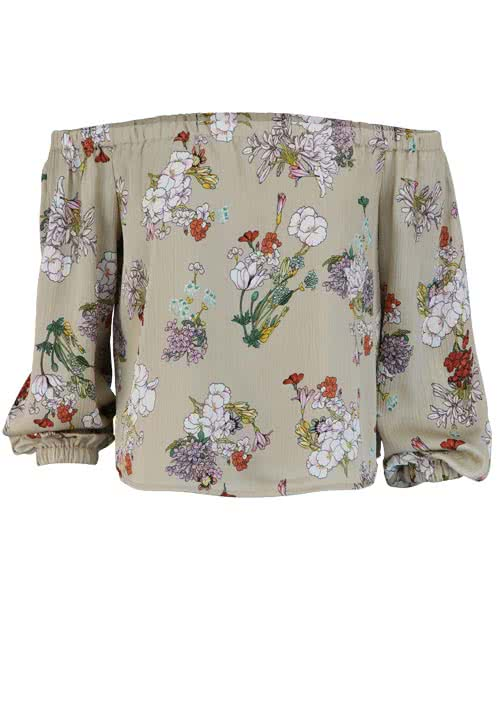 ONLY Langarm Bluse Off-Shoulder Allover Druck Floral Multicolor