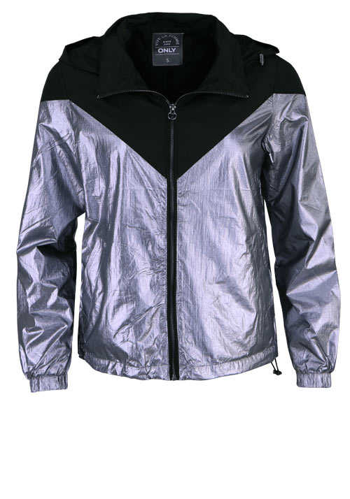 ONLY Langarm Jacke Kapuze Zipper Metallic-Optik schwarz