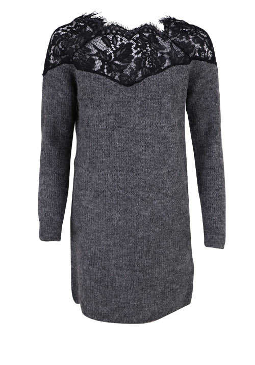 ONLY Langarm Kleid Spitzen Kragen Loose Fit Woll-Mix mittelgrau