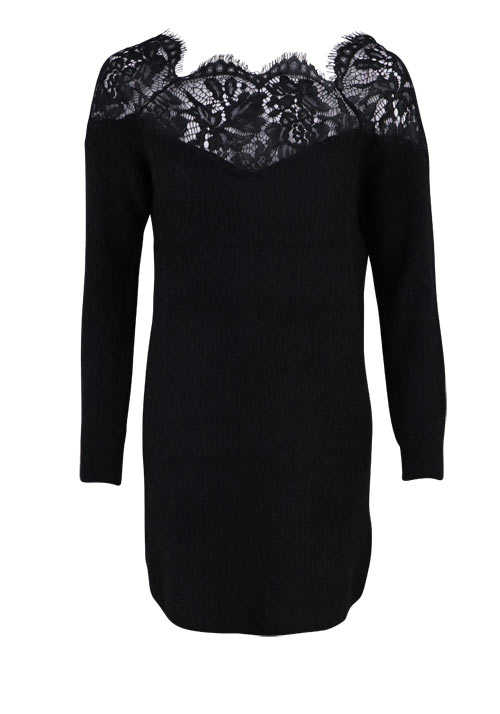 ONLY Langarm Kleid Spitzen Kragen Loose Fit Woll-Mix schwarz